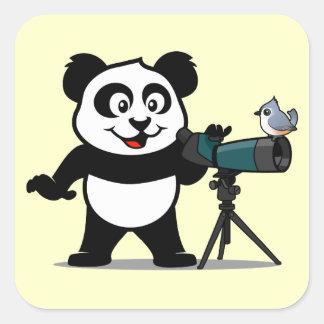 Birding Panda Square Sticker