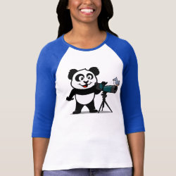 Ladies Raglan Fitted T-Shirt with Cute Birding Panda design