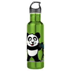 Water Bottle (24 oz) with Cute Birding Panda design