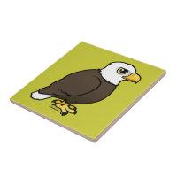 Adult Bald Eagle Small Ceremic Tile (4.25