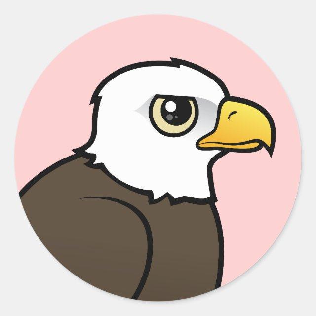 Adult Bald Eagle Round Sticker Cute Bird Gifts
