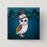 Barn Owl Witch Square Button