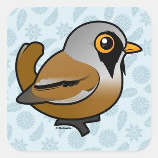 Birdorable Bearded Reedling Square Sticker