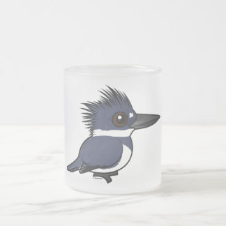 Birdorable Belted Kingfisher (male) Frosted Glass Coffee Mug