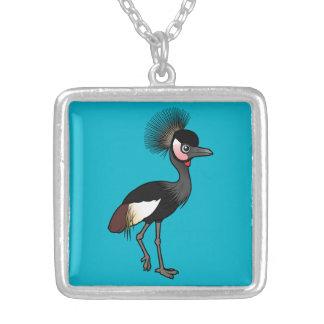 Birdorable Black Crowned-Crane Square Pendant Necklace