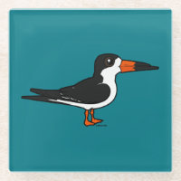Black Skimmer Glass Coaster