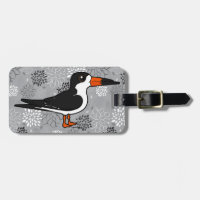 Black Skimmer Small Luggage Tag with leather strap