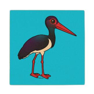Birdorable Black Stork Wooden Coaster