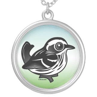 Birdorable Black & White Warbler Round Pendant Necklace