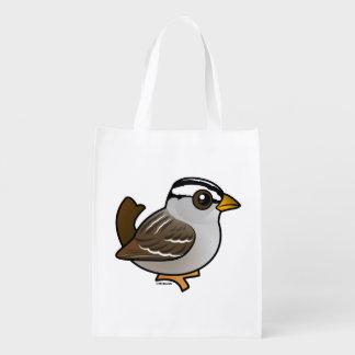 Birdorable Blanco-coronó el gorrión Bolsa Para La Compra