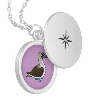 Birdorable Blue-footed Booby Round Locket Necklace
