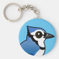 Birdorable Blue Jay Basic Button Keychain