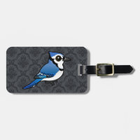 Birdorable Blue Jay Small Luggage Tag with leather strap