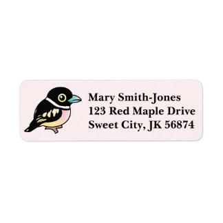 Birdorable Broadbill Negro-y-amarillo Etiquetas De Remite