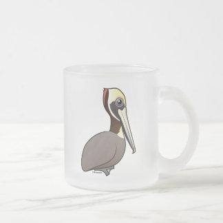 Birdorable Brown Pelican Frosted Glass Coffee Mug
