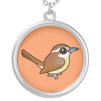 Birdorable Carolina Wren Round Pendant Necklace