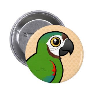 Birdorable Castaña-afrontó el Macaw Pin Redondo De 2 Pulgadas