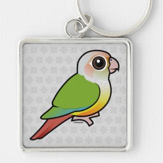 Birdorable Cinnamon Green-cheeked Conure Silver-Colored Square Keychain