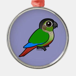 Birdorable Conure Verde-cheeked Adorno Redondo Plateado
