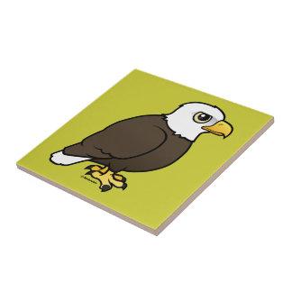 Birdorable Eagle calvo Azulejo Cuadrado Pequeño