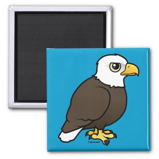 Birdorable Eagle calvo Imán Cuadrado