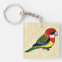 Eastern Rosella Square Keychain (double-sided)