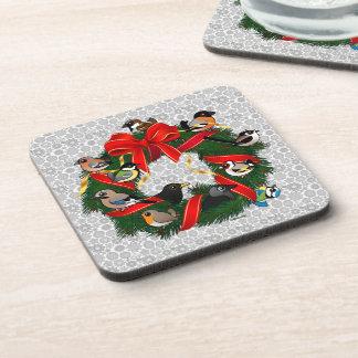 Birdorable European Garden Birds Christmas Wreath Beverage Coaster