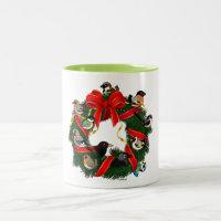 Birdorable European Garden Birds Christmas Wreath Two-Tone Mug