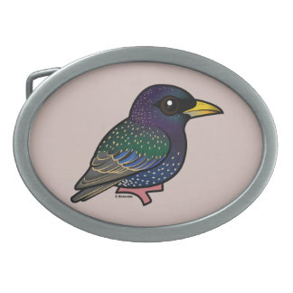 Birdorable European Starling Oval Belt Buckles