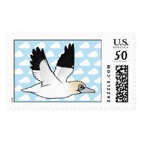 Flying Northern Gannet Large Stamp 2.5