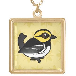 Birdorable Golden-cheeked Warbler Square Pendant Necklace