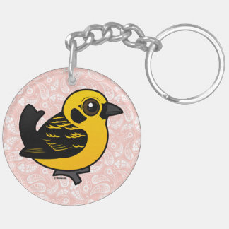 Birdorable Golden Tanager Double-Sided Round Acrylic Keychain