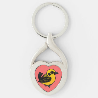 Birdorable Golden Tanager Silver-Colored Heart-Shaped Metal Keychain