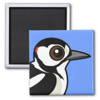 Great Spotted Woodpecker Square Magnet