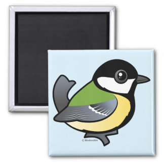 Birdorable Great Tit 2 Inch Square Magnet