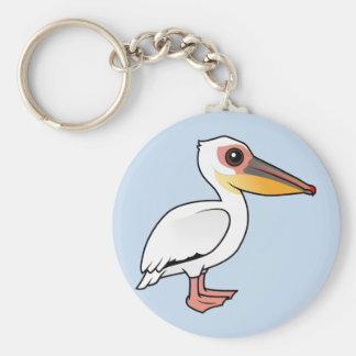 Birdorable Great White Pelican Basic Round Button Keychain