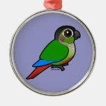 Birdorable Green-cheeked Conure Round Metal Christmas Ornament