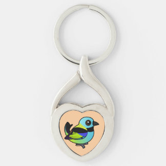 Birdorable Green-headed Tanager Silver-Colored Heart-Shaped Metal Keychain