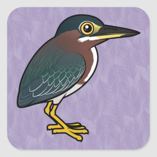 Birdorable Green Heron Square Sticker