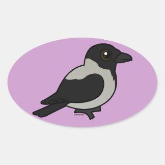 Birdorable Hooded Crow Oval Sticker