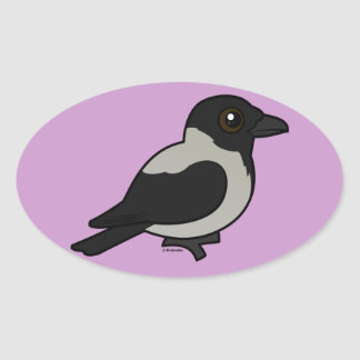 Birdorable Hooded Crow Oval Stickers