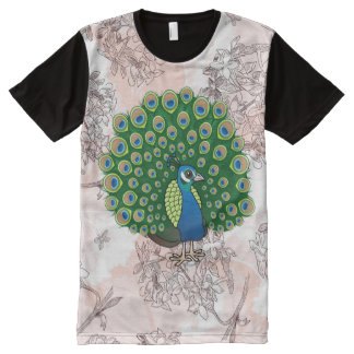 Birdorable Indian Peafowl All-Over Print T-shirt