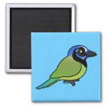 Birdorable Jay verde Imán Cuadrado