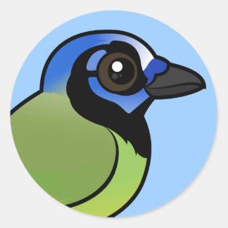 Birdorable Jay verde Pegatina Redonda