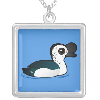 Birdorable Knob-billed Duck Silver Plated Necklace