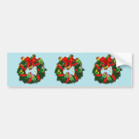 Birdorable Lovebirds Christmas Wreath Bumper Sticker