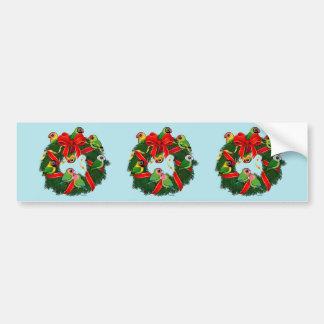 Birdorable Lovebirds Christmas Wreath Bumper Sticker