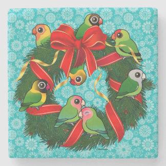Birdorable Lovebirds Christmas Wreath Stone Beverage Coaster