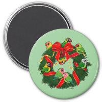 Birdorable Lovebirds Christmas Wreath Round Magnet