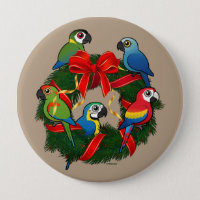 Birdorable Macaws Christmas Wreath Round Button